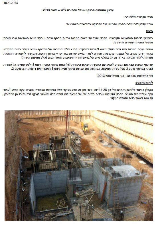 עדכון סטטוס פרויקט ותמונות מהאתר ינואר 2012